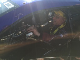 Tim Wilkerson, Funny Car winner and Summit Racing teammate, taking Line's Camaro for a spin in the Winner's Circle